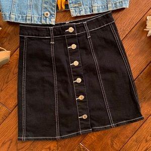 Forever 21 Black Button Down Mini Skirt